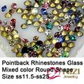 Pointback Rhinestones ss11.5-ss25 Glass Material Stones Mixed Colors Crystal Strass Nail Art Fingernails Decorations DIY Tools