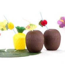 Гавайский ананас, кокос, чашка для дерева, прекрасные пластиковые чашки для питья фруктов, детские украшения для душа, летние пляжные вечерние украшения