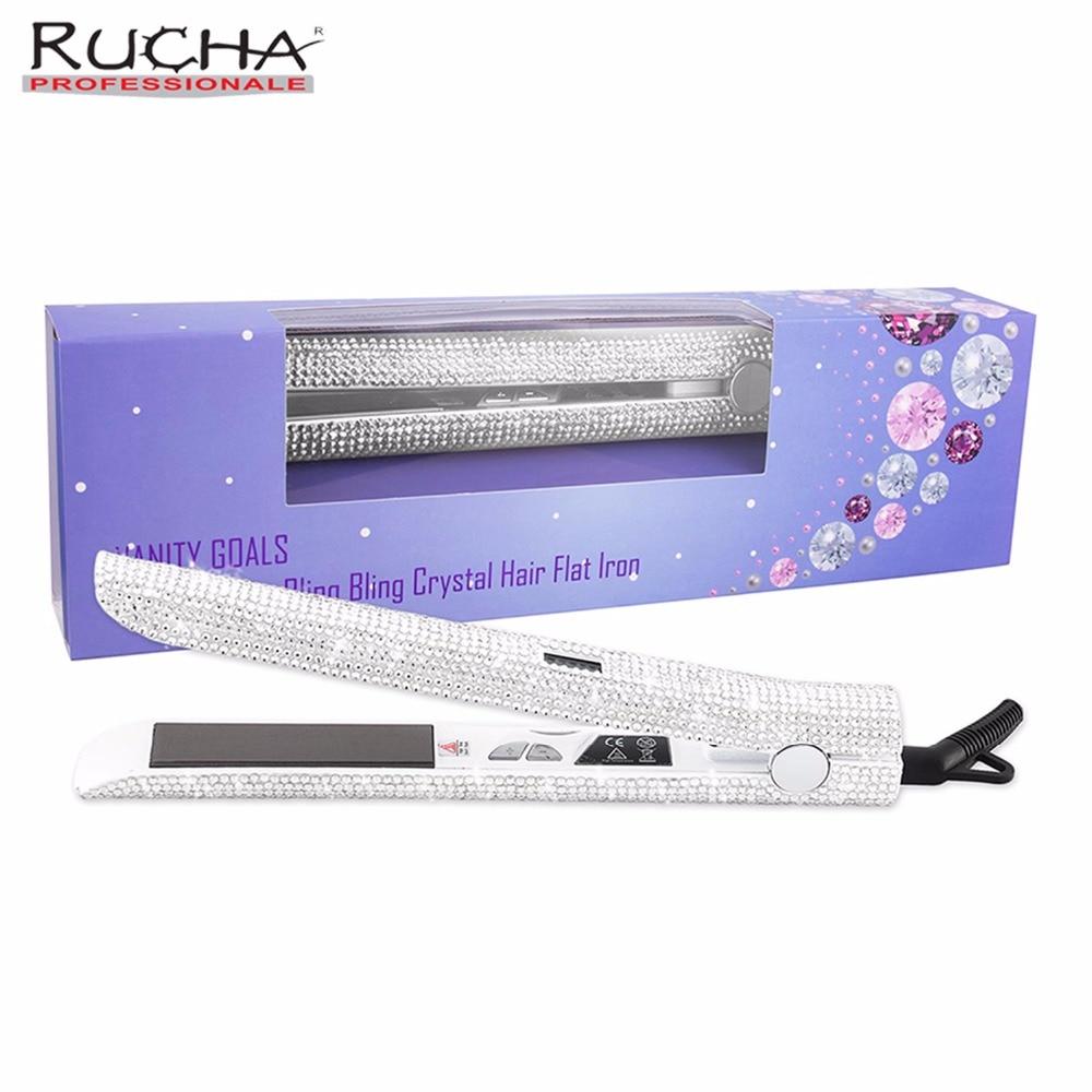 RUCHA klejnoty Super Bling cyfrowy wyświetlacz LCD tytanu prostownica do włosów musujące kryształ diament dżetów żelazka w Prostownice od AGD na  Grupa 1
