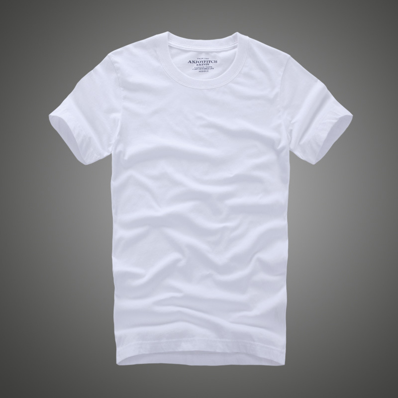 Men Tshirt 100% Cotton Solid Color O-Neck Short Sleeve T Shirt Male High Quality Anjoyfitch