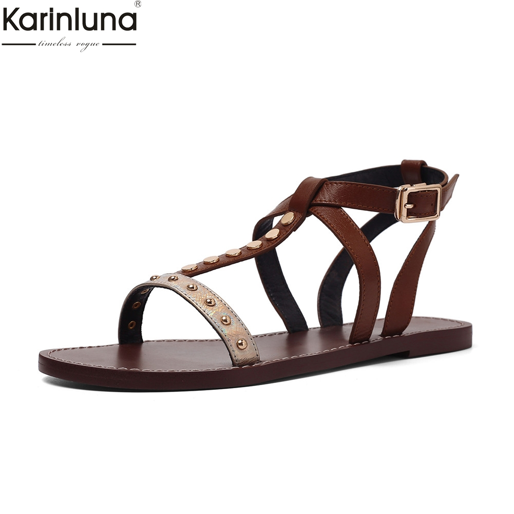 brand fashion leisure INS hot womens genuine leather rivet women shoes woman casual comfortable summer sandals 2019brand fashion leisure INS hot womens genuine leather rivet women shoes woman casual comfortable summer sandals 2019
