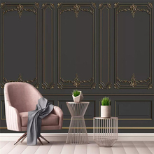 Custom Mural Wallpaper European Style Golden Relief Pattern Sofa Background Wall Painting