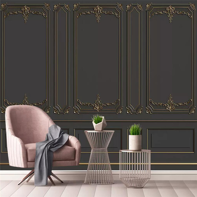 Seamless Wallpaper European Style Golden Relief Pattern Sofa Background Wall Painting