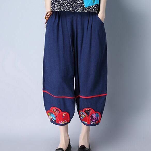 Ethnic Style Women Summer Vintage Embroidery Elastic Waist   Pants   Cotton Linen Comfortably Loose   Wide     Leg     Pants