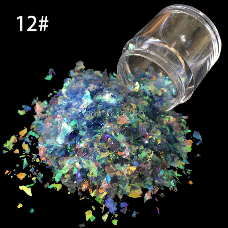 Shell Nail-Art Glitter Mylar SG-12 Shinny Irregular 10g/bottle Ice Paper Mixture Podwer
