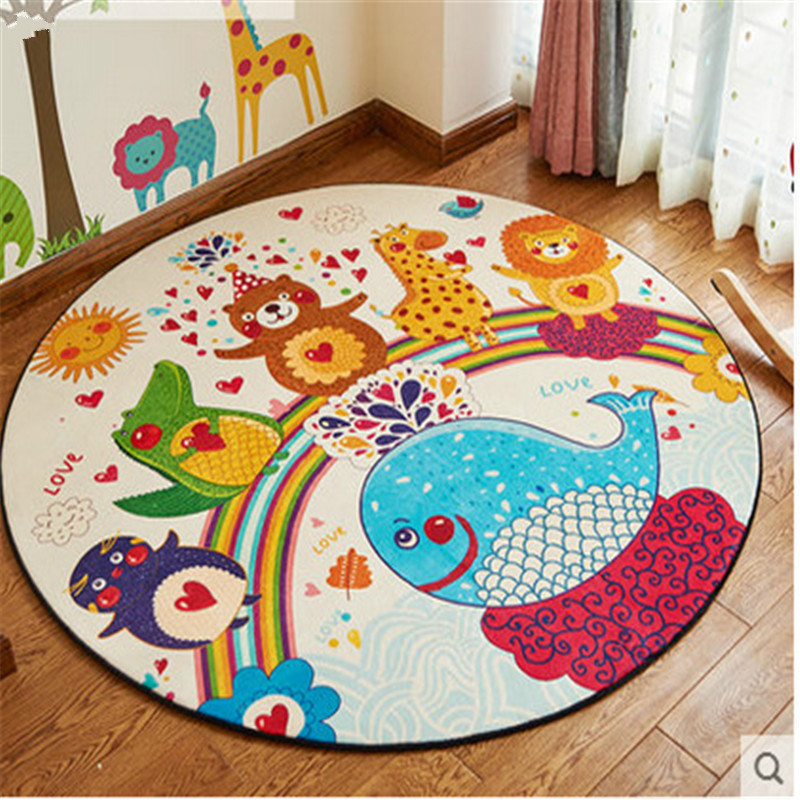 Home decor kids bedroom colorful animal carpet cat deer Children round play mat cartoon  ...