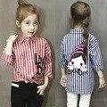 2016 Primavera niños niñas trajes blusas y camisas franja camisa de ocio niña de dibujos animados de moda blusas para niñas niño camisetas