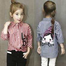 2016 Весна дети наряды девушки блузки и рубашки полосы досуг девочка рубашка мода мультфильм блузки для девочек малышей рубашки