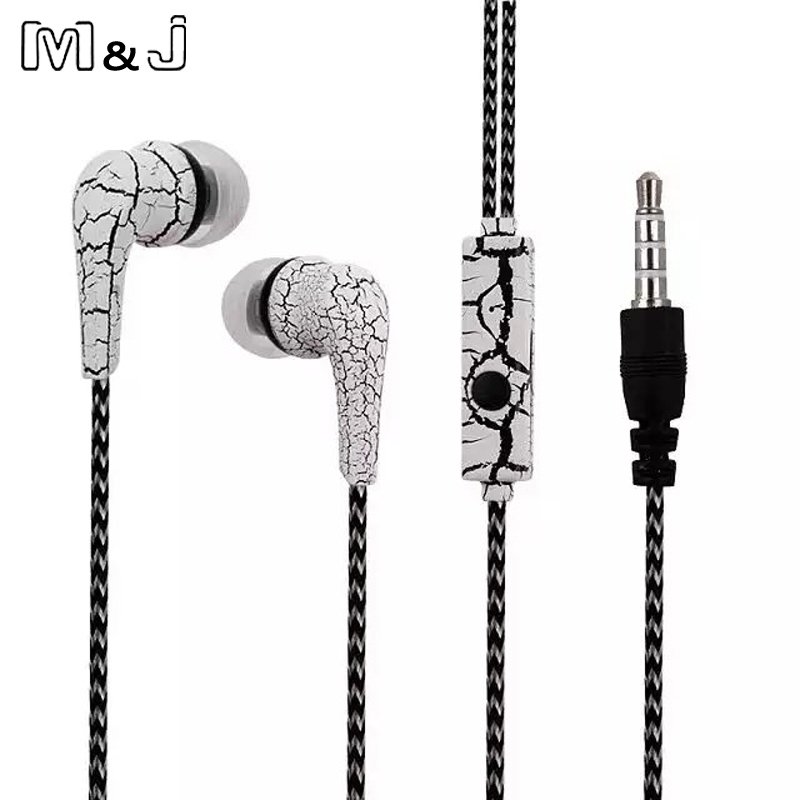 M&J Original Cell Phones Earphones Ice Cracks Design Earphone Earpiece with Microphone For iPhone Samsung earbuds for xiaomi original 1more triple driver in ear earphone with microphone for xiaomi mi redmi samsung mp3 earphones earbuds earpiece e1001