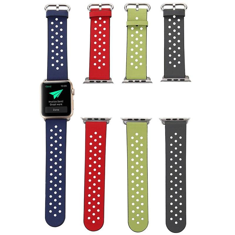 Apple Watch Serisi için 4 Band Yeni Özgürce nefes Hakiki Deri saat kayışı Apple Serisi Için 1 2 3 Bilek Bilezik saat kayışı|Saat kayışları|Saatler - title=