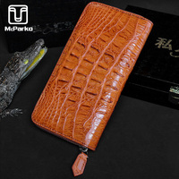 McParko Crocodile Wallet Women Evening Bag Wedding Clutch Wallet Genuine Leather Vintage Long Wallet Luxury Female Purse Brown