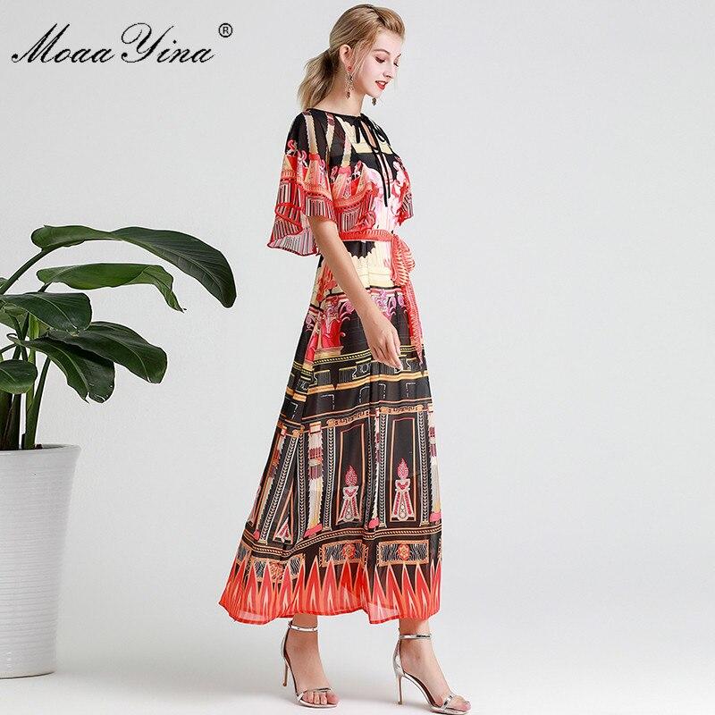 Image 3 - MoaaYina Fashion Designer Runway dress Spring Summer Women Dress  Vintage Print Elegant Lace Up Maxi DressesDresses
