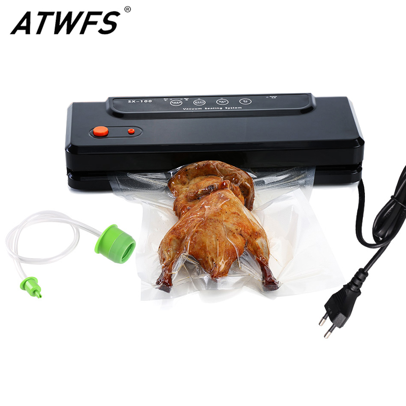 ATWFS Household Multi-function Best Food Vacuum Sealer Saver Home Automatic Vacuum Sealing Packer Plastic Packing Machine Bags jiqi food vacuum sealer automatic vacuum wet and dry sealing packer electric plastic packing machine fruits saver with free bags