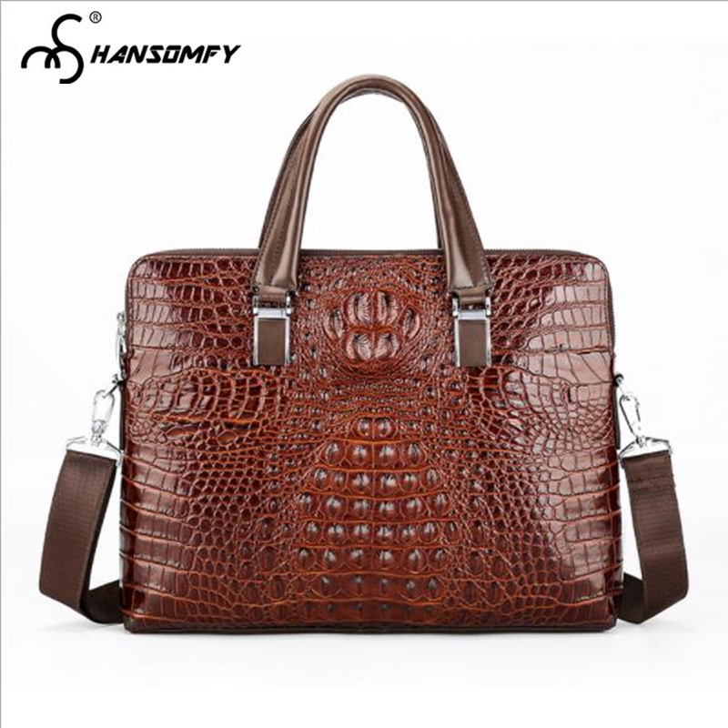 Crocodile pattern Men Handbag Laptop Bag cross section Genuine leather large capacity briefcase business Shoulder Messenger Bags кпб tj 11