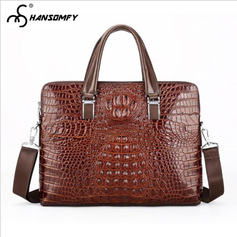 Crocodile Pattern Men Handbag Laptop Bag Cross Section Genuine Leather Large Capacity Briefcase Business Shoulder Messenger Bags