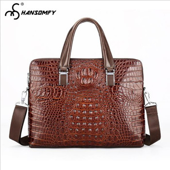 Crocodile pattern Men Handbag Laptop Bag cross section Genuine leather large capacity briefcase business Shoulder Messenger Bags