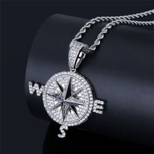 Hip Hop Jewelry Compass Shape Pendant Necklace With Gold Chain For Men New Arrival Cubic Zirconia Necklace