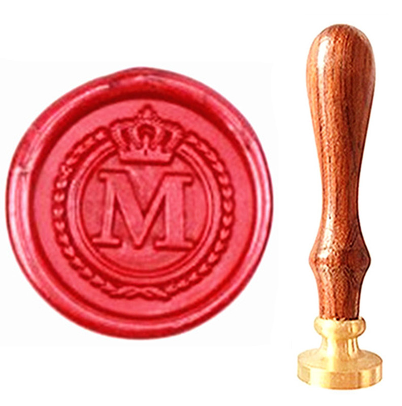 MDLG Vintage Alphabet Letter M Crown Wedding Invitations Gift Cards Wax Seal Stamp Stationary Sealing Wax Stamp Wood Handel Set elegant flower lace lacut cut wedding invitations set blank ppaer printing invitation cards kit casamento convite pocket