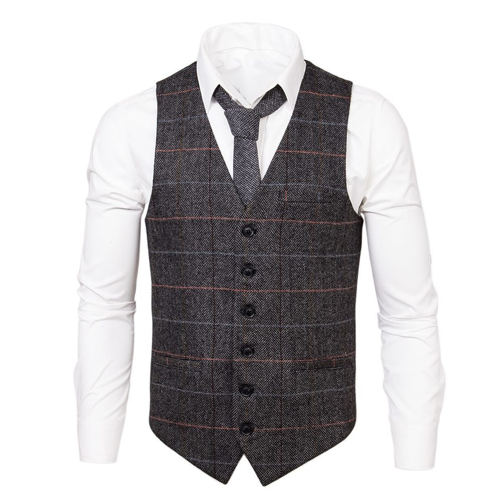 Voboom Gray Plaid Wool Tweed Mens Waistcoat Casual Fit Vest Single-breasted Herringbone Slim Fitted Suit Vests 007 To Win A High Admiration And Is Widely Trusted At Home And Abroad. Suits & Blazers
