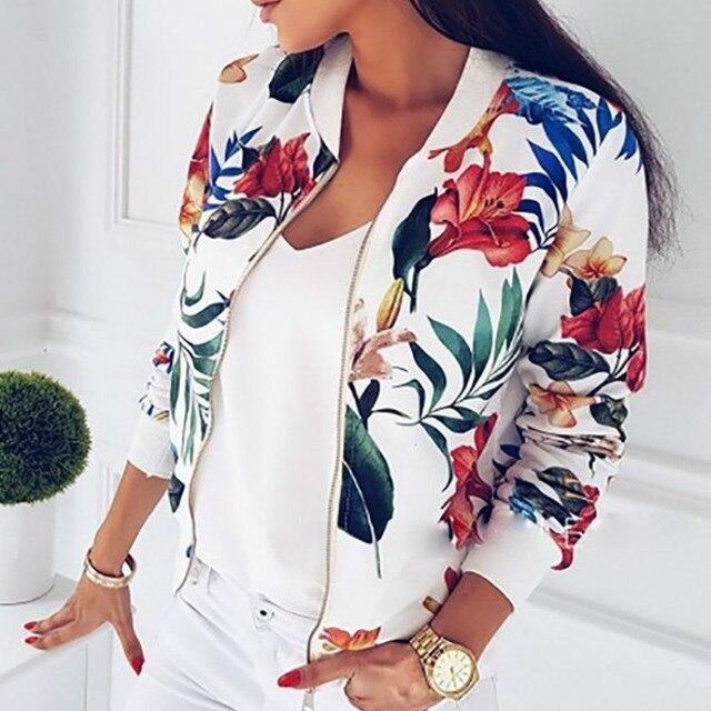 Для женщин пальто Модные женские ретро цветочные на молнии Курточка бомбер Повседневное пальто осенняя верхняя одежда женская одежда 2018