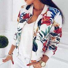 Women Coat Fashion Ladies Retro Floral Zipper Up Bomber Jacket Casual Autumn Outwear Clothes 2018