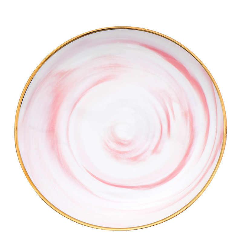 Merah Muda Mewah Keramik Tray Berlapis Emas Edge Makanan Barat Steak Piring Buah Makanan Piring Mangkuk Nordic Rumah Mangkuk Pecah 10 8 Inch