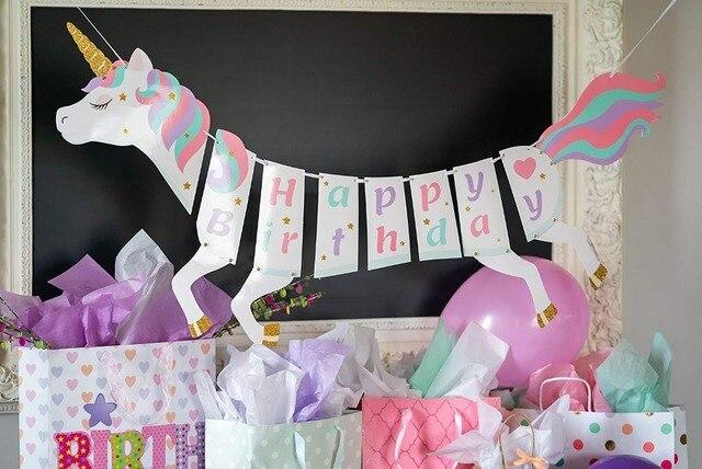 Glitter Unicorn Diy Garland Happy Birthday Unicorns Banner Bunting
