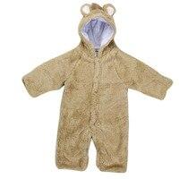 Hot Selling High Quality Kawaii Cute Solid Newborn Baby Boys Girls Fleece Winter Rabbit Bear Romper