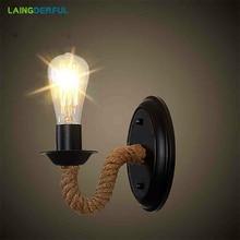 Ретро креативный настенный светильник в форме веревки для гостиной, ресторана, коридора, паба, кафе, промышленности, настенный светильник