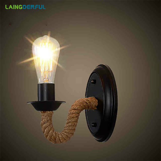 Retro Creative Rope Shape Wall Light for Living Room Restaurant Aisle Corridor Pub Cafe Industry Wall Lamp