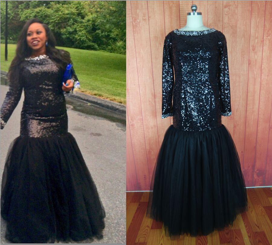 Sexy Long Sleeve Mermaid Black Sequins Prom Dress Crystal Beading