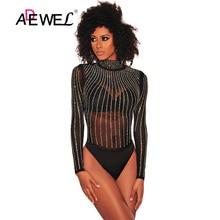 ADEWEL Sexy Rhinestone Black Transparent Mesh Long Sleeve Bodysuit Women Body Tops Turtleneck Club Wear Femme Romper