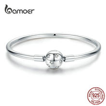 BAMOER Silver Star Bangle Sterling Silver 925 Round Clip Charm Clear CZ Smooth Bracelet 3mm Fit Brand DIY Jewelry SCB144(China)