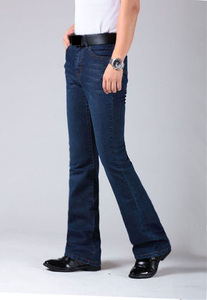 Image 4 - Mens התלקח רגל ג ינס מכנסיים גבוה מותן ארוך התלקחות ג ינס לגברים Bootcut כחול ג ינס Hommes פעמון תחתון ג ינס גברים