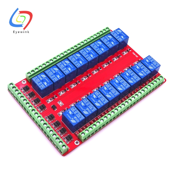 US $24 8 |EYEWINK 16 Channel Relay Shield Module RM16LS 5V 12V 24V for  Raspberry Pi Pcduino Development Board DIY Kit RC Electronic Toy-in  Electronics