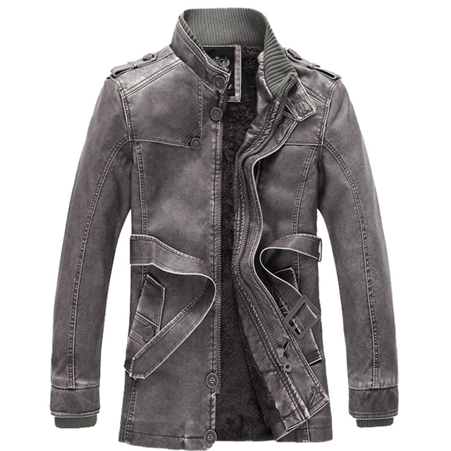 High Quality 2016 Winter Mens Leather Jacket Plus Size Male Warm  PU Leather With Sashes Casual Motocycle Leather Coats