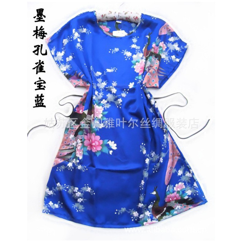 Peacock robe Blue pajamas Chinese Womens Silk Rayon Robe Bath Gown One Size Flower Free Shipping