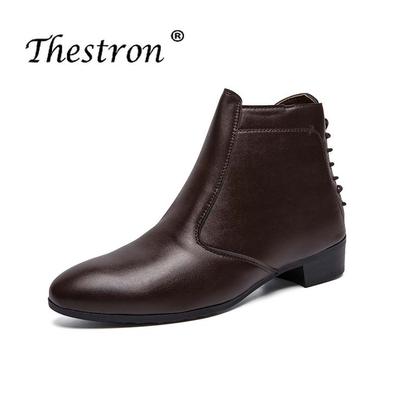 Designer Men Work Boots Pu Leather Working Boots For Men Black Brown Platform Casual Shoes Male Fashion Outdoor Autumn Footwear in Basic Boots from Shoes