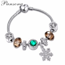 Silver Plated Luxury Snowflake Charms European Crystal Bead DIY Bracelets Bangles For Women Authentic Jewelry SL78
