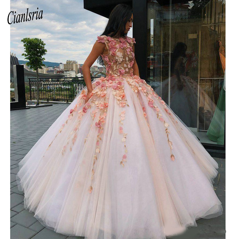 Disney Wedding Dresses 2019: 2019 Princess Floral Flowers Ball Gown Quinceanera Dresses