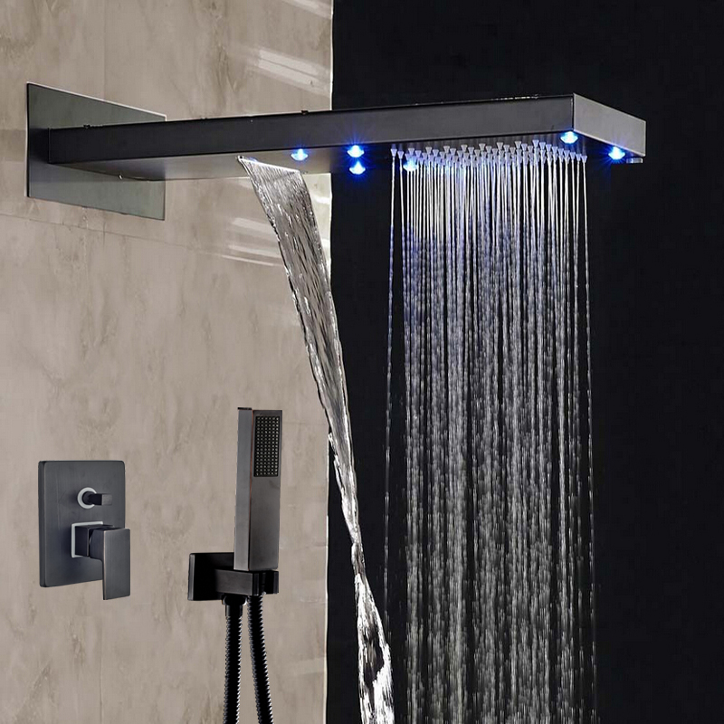 Wholesale And Retail LED Rainfall & Waterfall Shower Faucet 2 Ways Valve Mixer Hose Hand Shower Oil Rubbed Bronze Sprayer