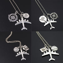 1 шт. каждое путешествие начинается с одного шага компас со словами Ожерелье «самолетик» для камеры ювелирные изделия подарок пилот путешес...