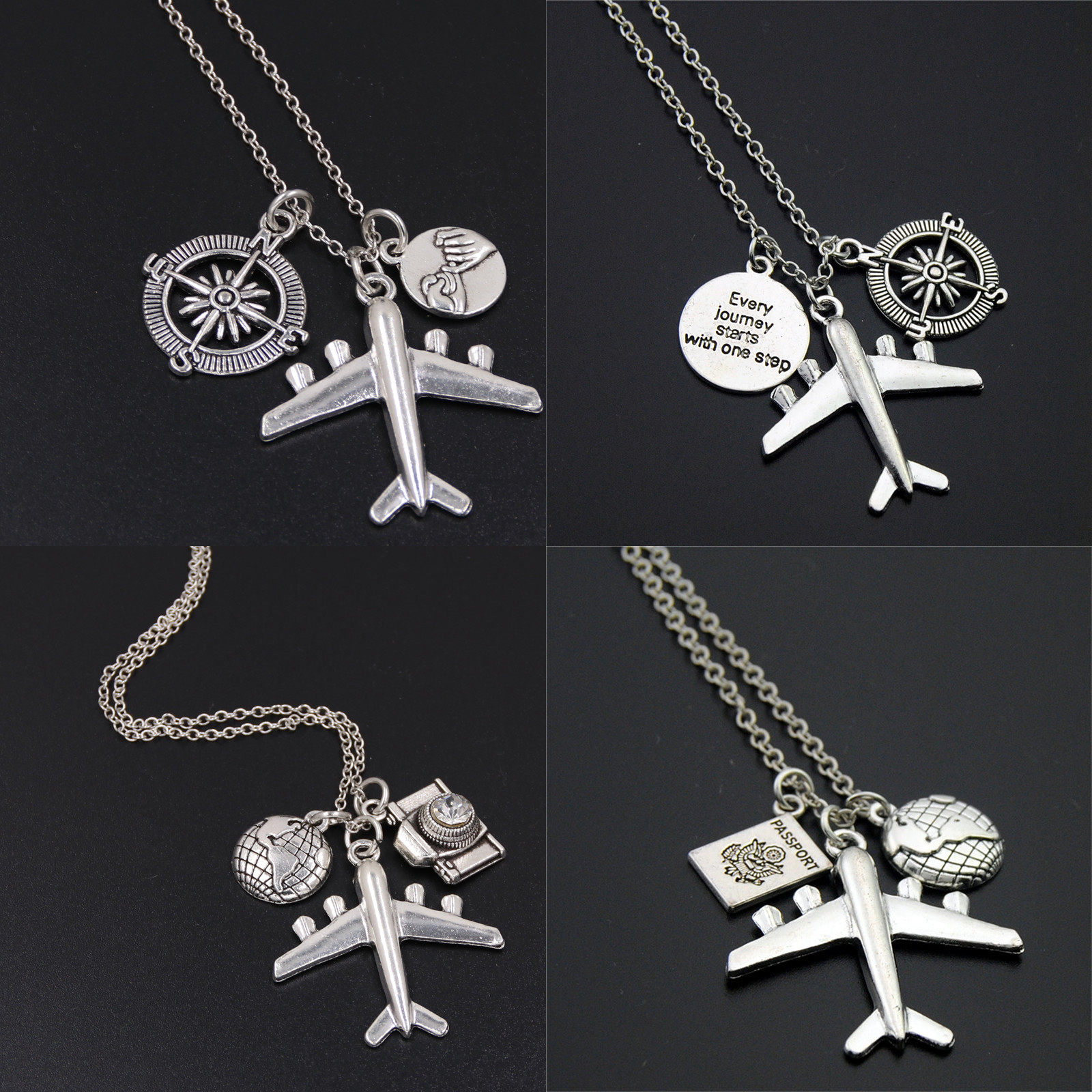 "1pc ""Every Journey Starts With One Step"" Words Compass Airplane Necklace Camera Jewelry Gift Flight Pilot Travel Necklace"