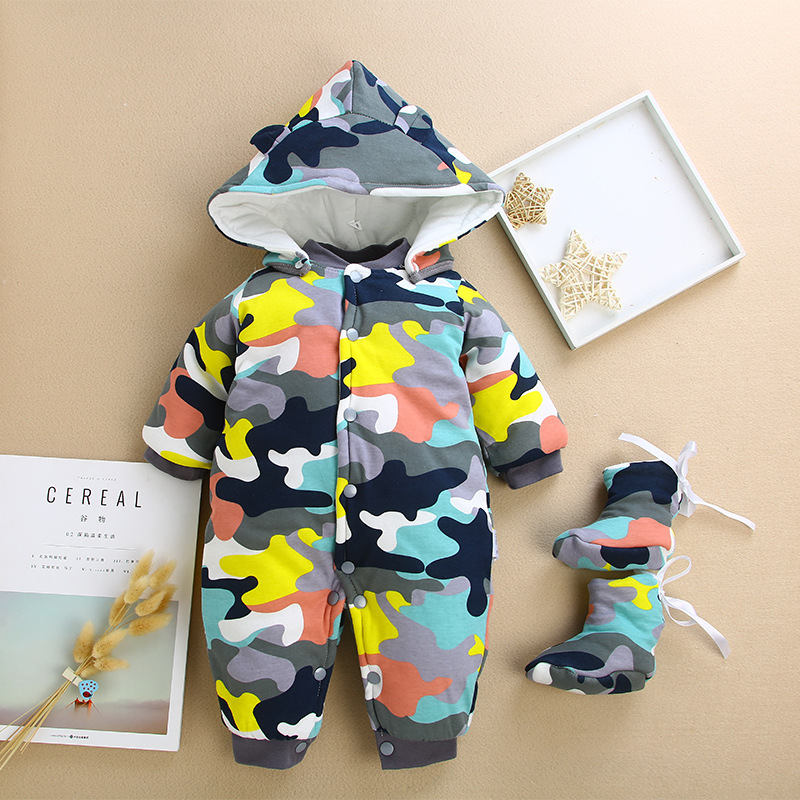Newborn romper cotton winter warm thick jumpsuit for infant clothing toddle baby boys girls romper +hat+shoes 3pcs set