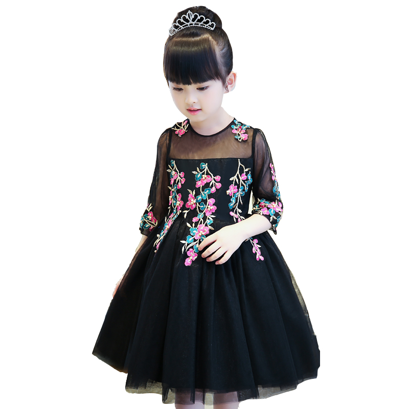 2017New European American Luxury Girls Children Embroidery Flowers Princess Party Dress Kids Costume Half Sleeves Birthday Dress green crew neck roll half sleeves mini dress