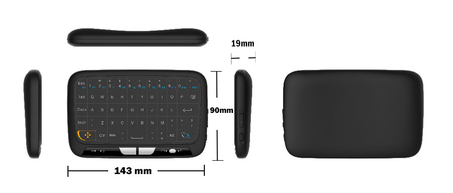 FASTDISK 2.4GHz Wireless Mini Keyboard Full Touchpad Backlight Keyboard Large Touch Pad Remote Control for Smart Android TV Box