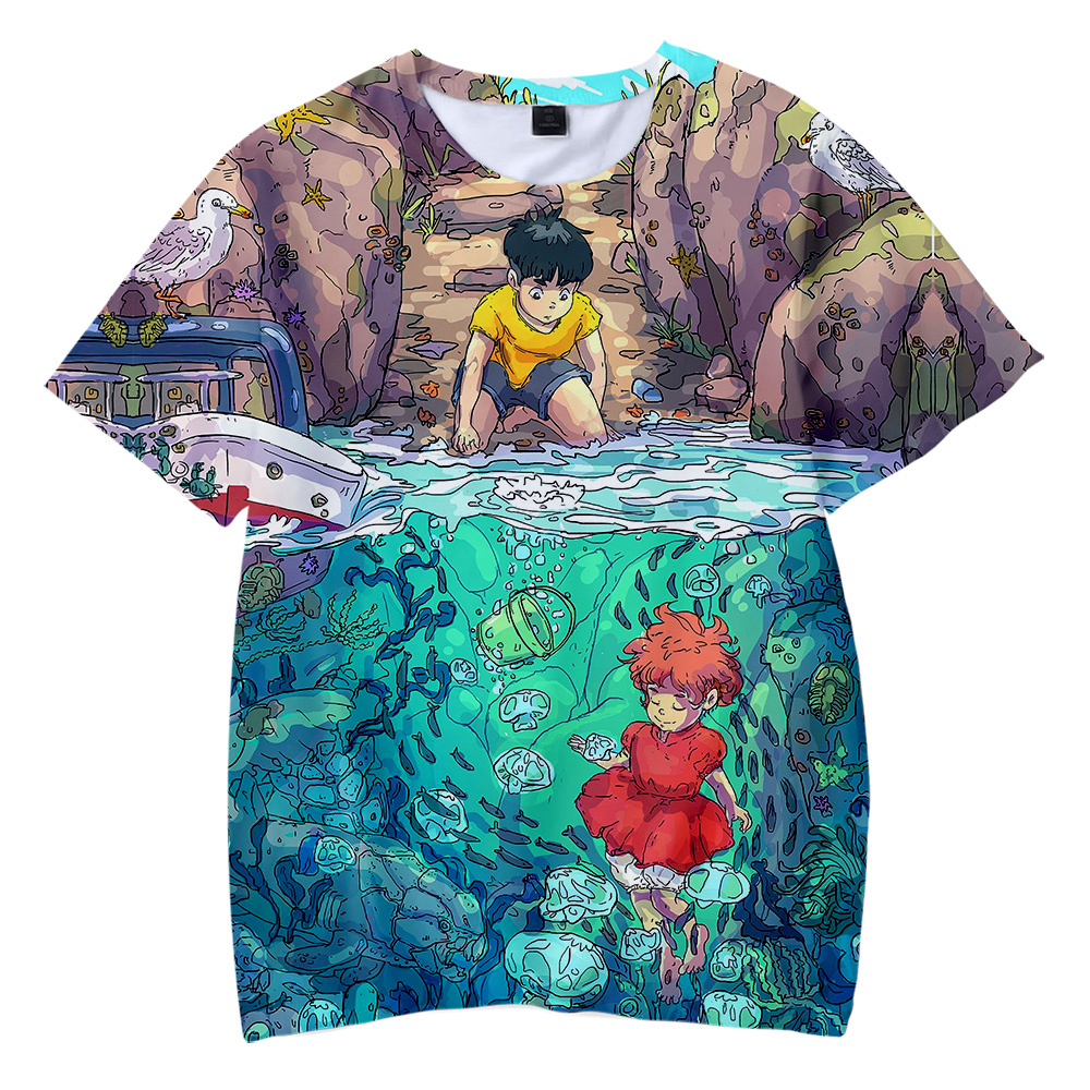 Aikooki Kawaii Ponyo on the Cliff 3D T shirt Boys/Girls Fashion Cute Kids T shirt Print Ponyo on the Cliff Chidren Short T shirt|T-Shirts| - AliExpress