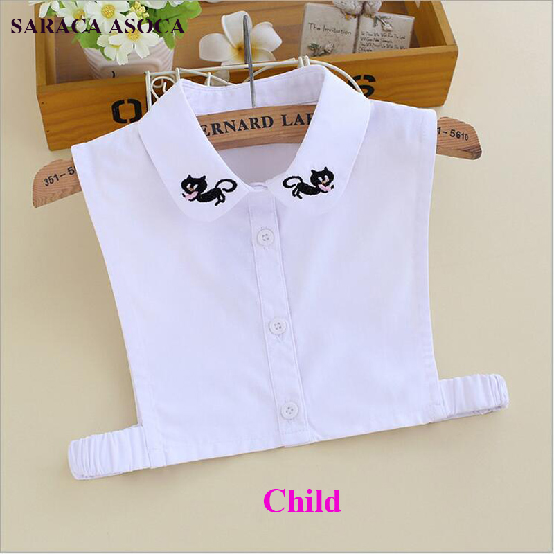 Fashion All Match White Color Shirt Chid Fake Collar  Embroidery Student Style Detachable Collar Girls