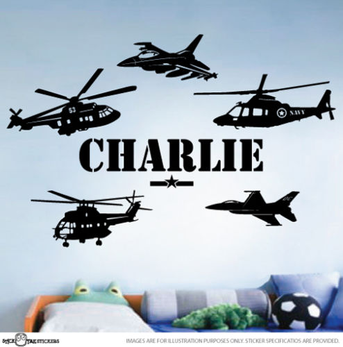 G161 CUSTOM NAME ARMY Helicopter Fighter Jet Aircraft Wall Art Vinyl Decal Sticker Boys dormitory wall stickers