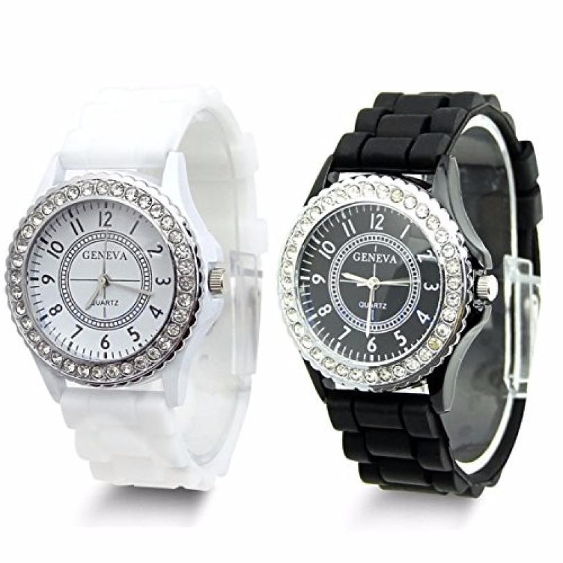 2 Watch Women Clock Fashion Men Black and White Faux Silicone Rhinestones Gift Chronogra ...